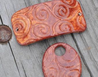 Autumn Swirl Pottery PENDANT BEAD ONLY
