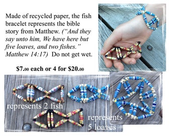 Christian Fish and Loaves Bracelt made of recycled paper