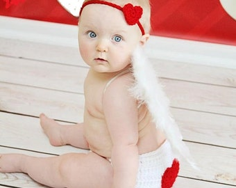 Valentine Baby Hearts  headbad diaper cover and cupid wings