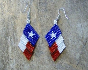 Texas Flag Earrings Hand Made Seed Beaded