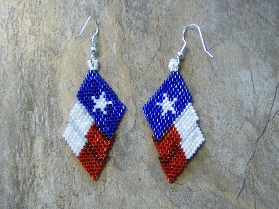 Texas Flag Earrings Hand Made Seed Beaded