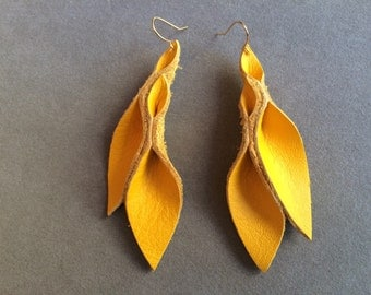 Petal Collection:  Thick Yellow Leather Petal Earrings 3 inches