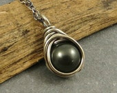 Black Pearl Necklace Wire Wrapped Necklace Swarovski Pearl Gifts under 30 Eco Friendly Jewelry