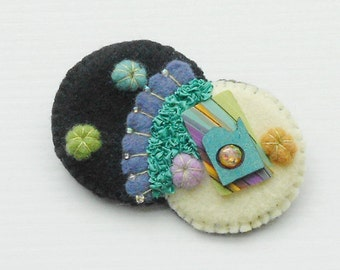 Felt Pin Abstract Modern Beaded Brooch Art Style -  Black Off White Aqua Plums Turquoise