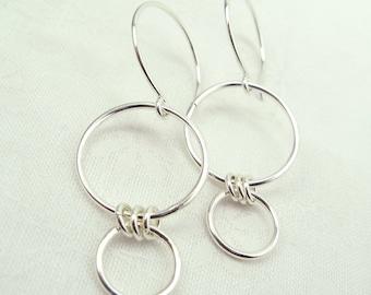 NEXUS EARRINGS, sterling silver hoop circle earrings