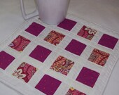 Scrappy Modern Snack Mat Candle Mat or Mug Rug in Pinks and Purples