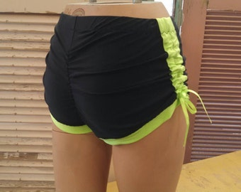 Black and Neon Green Spandex Lift and Separate Booty Scrunch Butt Shorts Roller Derby Yoga Dance Cracker Wear XL
