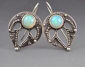 Felsina Earrings- Granulated Sterling Silver Earrings with Opal