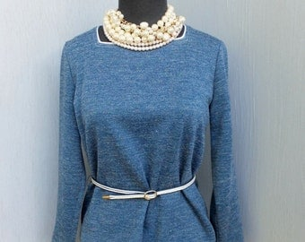 1970s Vintage Knit Blouse w/Original Belt by Lola's Closet / Medium