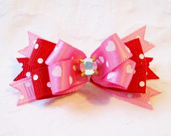 Dog Bow- Pink and Red Valentines Boutique Dog Bow