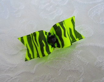 "5/8"" Neon Green Zebra Dog bow"