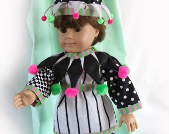 Doll Costume for 18 inch Doll American Girl Doll Harlequin Doll Jester Doll Clown Costume Black and White Doll Clown Fantasy Doll Costume
