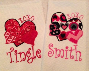 Personalized Valentine's Day Towels - You choose colors!