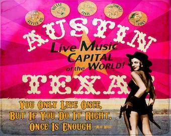 Digital Art Print, Art Print, Collage Print, Vintage Image, Collage Art, Cowgirl, Austin,Texas