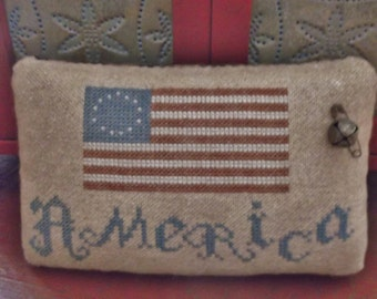 "Patriotic ""America"" Primitive Americana Cross Stitch Pinkeep Pillow Tuck Completed Cross Stitch ~ Made To Order ~"