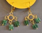 Emerald Green Adventurine Cloud and Rain Dangle Earrings