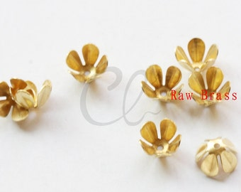100pcs Raw Brass Flower Bead Cap -  7.5mm (2029C-P-330)