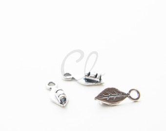 2 pcs of  Oxidized Silver Tone Brass Base Leather Tips - Crimp End Cap - Leaf -1.4mm Hole (501)