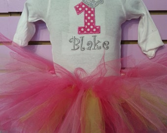 Pink Princess 1st Birthday Outfit