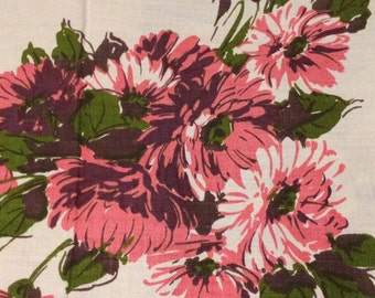 Vintage Linen Floral Tablecloth