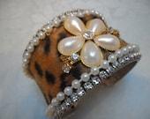 50% OFF - CUFF Bracelet Leopard Rhinestones Pearls Handmade - Cuff Bracelet - Leopard and Trims