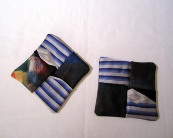 Origami Tie Coasters--Blue Stripes