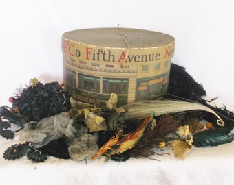 Antique Dobbs Hat Box Full Of Millinery Supplies Feathers Trims Edwardian Era Pauline Druly Estate