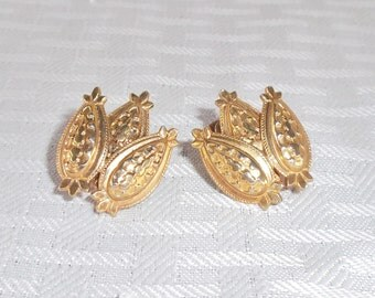40s 50s Vintage Lisner Gold Tone Abstract Screw Back Earrings