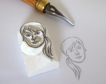 Custom single portrait / hand carved rubber stamp / for stampin up personalized gift fabric paper etc