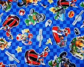 "Mario Bross Print Japanese fabric 50 cm by 106 cm or 19.6"" by 42"" Half meter"