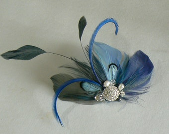 varigated blue feather clip - blue wedding clip - bridal feather hairclip