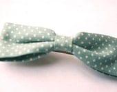 French Blue Polka Dot Hair Clip - Cute Retro Vintage Look Bow Hair Accessory