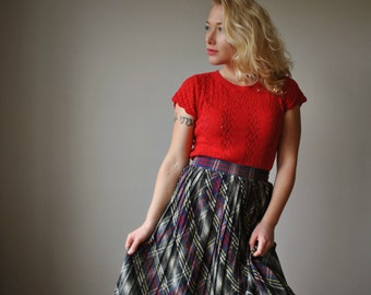 1940s Wool Plaid Pleat Skirt~Size Extra Small