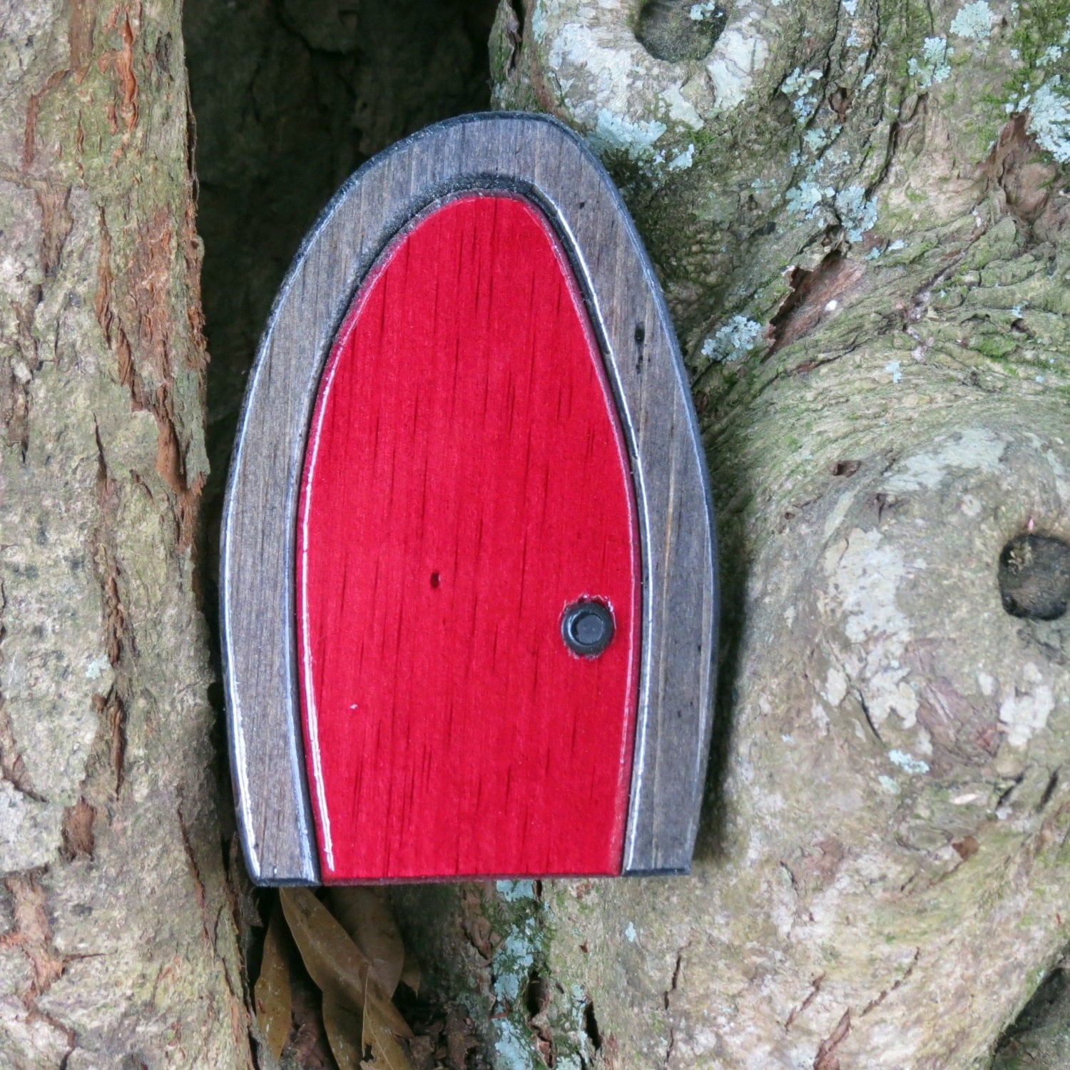 Wooden bordeaux and gray fairy door for Wooden fairy doors