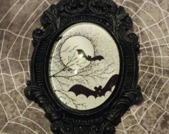 Black Baroque setting with Full Moon and Bats