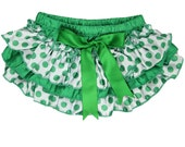 St. Patrick's Day - Ruffle Bloomers Green Polka Dot