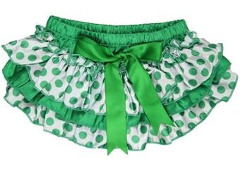 St. Patrick's Day - Ruffle Bloomers Green Polka Dot