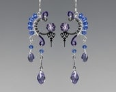 Amphitrite II v14: Elegant wire wrapped steampunk earrings with blue and purple Swarovski crystals