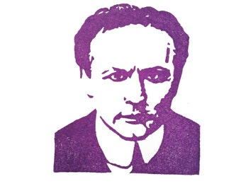 Harry Houdini Rubber Stamp - Hand Carved