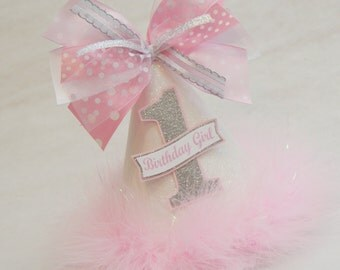 NEW Glitter White, Silver, and Pink Party Hat - Polka Dot, Princess, Glam, Winter Wonderland, Frozen, Fairy