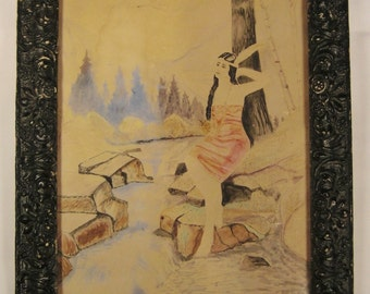 Original WATERCOLOR POCAHONTAS Framed decorative  As Found condition 1940s 14  1/4 X 11  1/2 inches