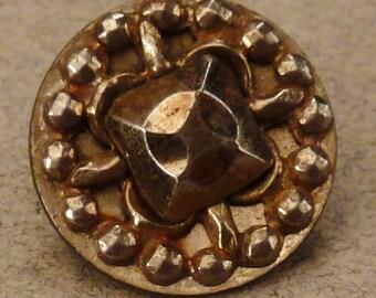 STEEL  BUTTON  Metal Victorian Steel accents round  Vintage  Pierced 1/2 inch diam