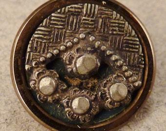 STEEL  BUTTON  Metal Victorian Steel accents round  Vintage  textured 9/16 inch diam