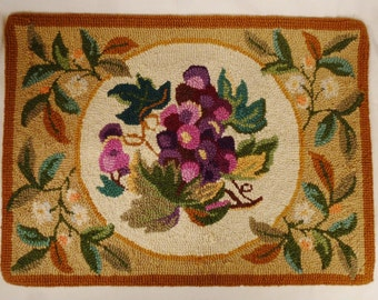 Floral RUG cover PANEL bouquet  Hand Embroidered ,handcrafted  Cross Stich 26.5 by 19.5 purple white beige background