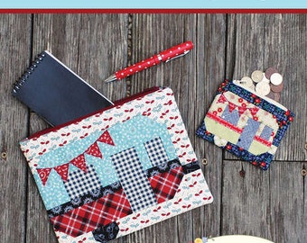 PATTERN GONE GLAMPING zippered pouches wallets