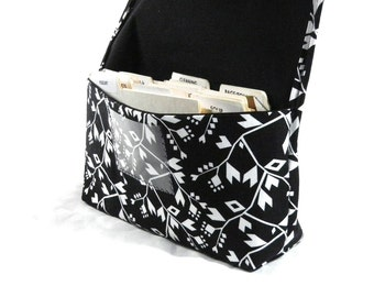 Coupon Organizer Holder Black White Triangle Vines