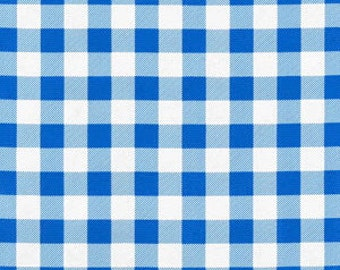 "Remnant Last 2 yards Oilcloth Blue 1"" Picnic Check"