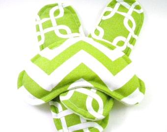 Head Heel, Eye Pillow Footwarmer Inserts, Microwave Heat Bags Hot Cold Packs, rice flax - chartreuse green chevron