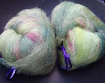 Garden Tea spinning batts, 2 ounces of merino wool, silk and sparkle