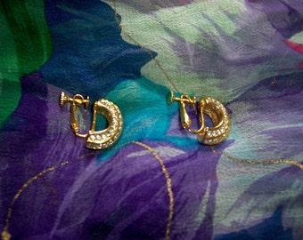 SALE! Vintage Napier Rhinestone Gold Tone Crescent Earrings Clip On